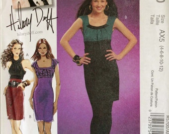 """Dress, Cowl Collar by Hilary Duff - McCall's Pattern 5700 Uncut  Sizes 4-6-8-10-12  Bust 29.5 to 34"""""""