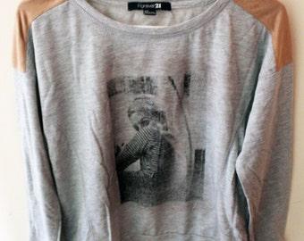 SALE Ladies Screen Printed upcycled Sweatshirt with Suede detailing