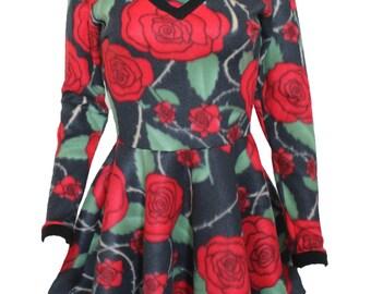 Fleece Rose Tattoo Pin Up 50s Skater Dress