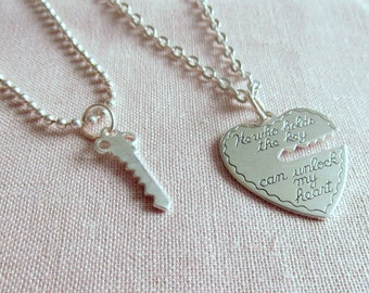 Silver Key to My Heart Necklace Set, His and Her Necklaces, Romantic Jewelry, Heart and Key, Couples