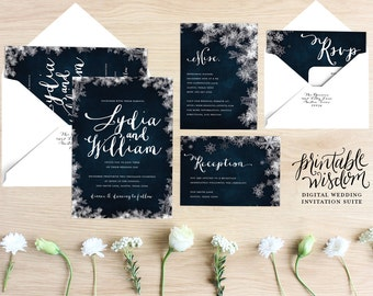 Exceptional Winter Wedding Invitation Suite Printable Wedding Invite Vintage Style  Snowflake Wedding Invitation DIY Digital Invitation Printable