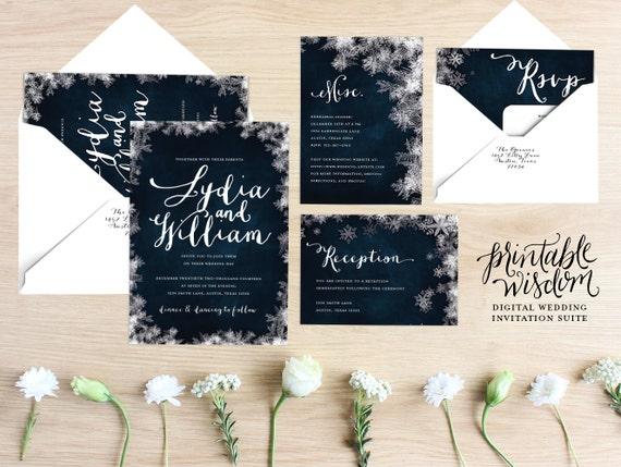 Winter Wedding Invitation Wording: Winter Wedding Invitation Suite Printable Wedding Invite