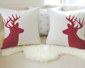 Holiday Deer Pillow Cover Pair - Oatmeal & Christmas Red Corduroy Appliqué Stag Silhouettes - Rustic Woodland - Winter Wonderland 20x20