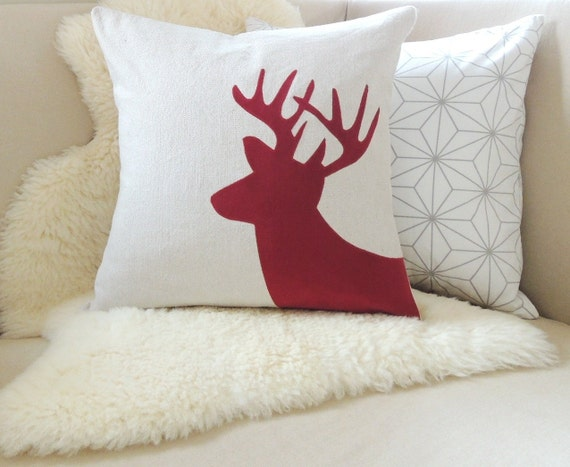 Modern Moose Pillows : Items similar to Holiday Deer Pillow Cover - Rustic Modern on Etsy