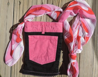 Small Black Denim & Pink Lined Cross Body Purse/Bag, Upcycled/Recycled from Pockets,Perfect for Dog Walks, Amusement Parks, Wine Tours, etc.