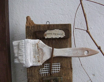 Assemblage Art, Wall Sculpture, Mixed Media Collage, Primitive Rustic, OOAK