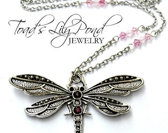 Handmade Pink Dragonfly Necklace - Dragon Fly Jewelry