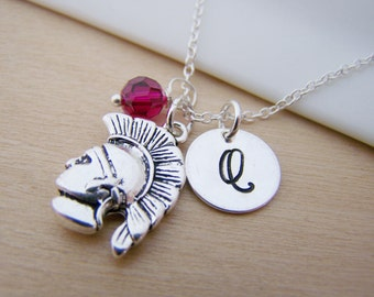 Spartan UNCG Charm Swarovski Birthstone Initial Personalized Sterling Silver Necklace / Gift for Her
