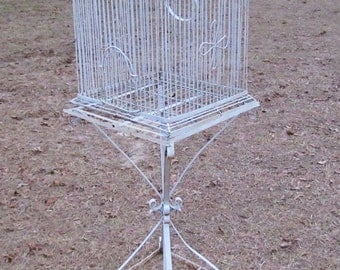 Shabby Chis Bird Cage, Beautiful Vintage Metal Bird Cage, Wedding Bird Cage, Bird Cage, Large Metal Bird Cage, Metal Bird Cage with Stand
