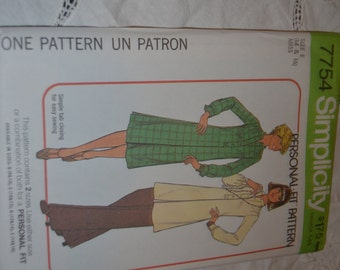 Vintage Simplicity 7754 Misses Dress  or Tunic and Pants Sewing Pattern - UNCUT - Size 14 & 16