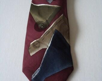 Vintage Chez Roffe Necktie, Silk Designer Necktie, 1990s Abstract Necktie, Business Weddings