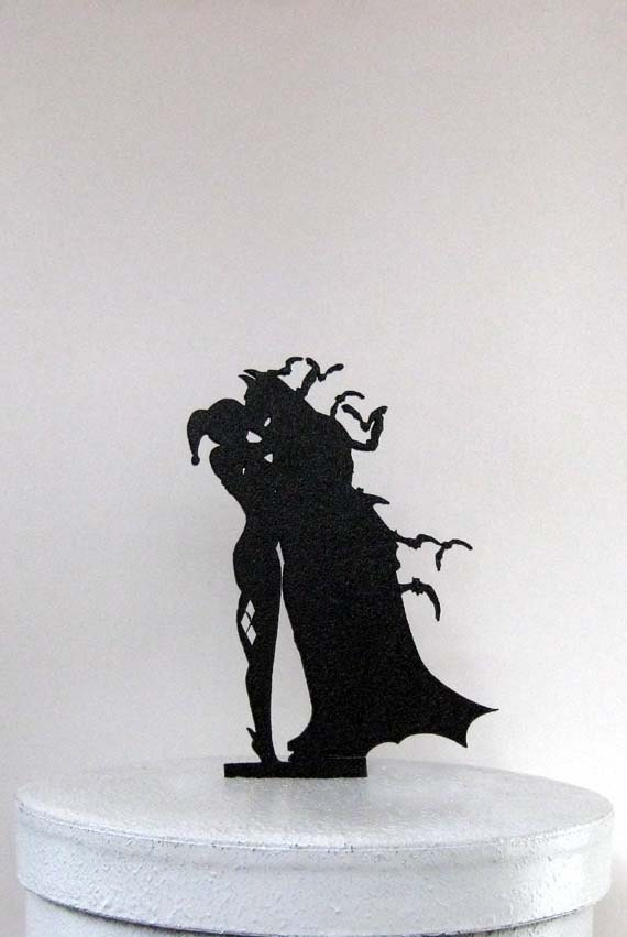 joker and harley quinn wedding cake topper wedding cake topper batman amp harley quinn silhouette 16608