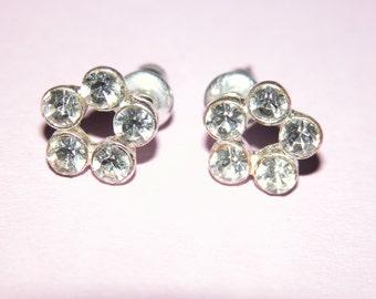 Dainty Vintage Rhinestone Crystal Stud Earrings