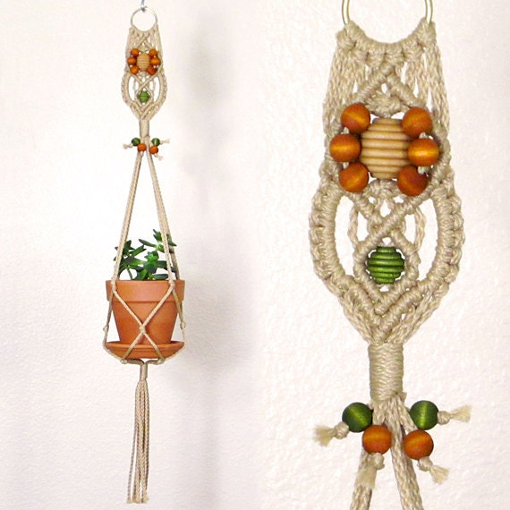 Macrame Plant Holder Orange Daisy Flower Jute Rope Plant