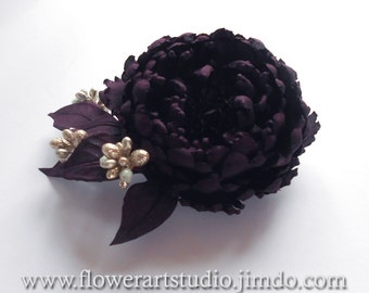 Dark purple fabric flower brooch, Purple silk flower, Wine color bridal brooch, Flower for sash, Mother of a bride brooch, Goth style brooch