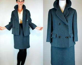 Vintage 50s Wool Swing Coat Two piece Suit Set. Mod Gray Blue Pencil Skirt + Mini Dress Jacket. Avant Garde Work Wear Peacoat. Extra Small