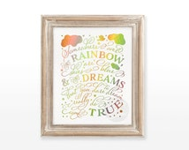 INSTANT DOWNLOAD Rainbow printable art wall holographic foil decor decoration quote, Wizard of Oz print  8x10   Somewhere over the rainbow
