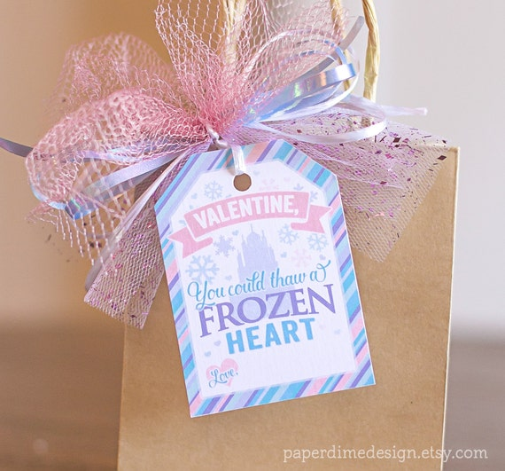 Printable Frozen Valentine Tags: Valentine's Day Elsa Anna Gift Favor School Classroom Girl - PDF File, You Print - INSTANT DOWNLOAD
