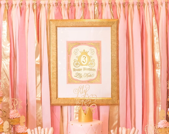 Princess Birthday sign, decor storybook pink and gold Once upon a time silhouette girl baby shower personalized custom