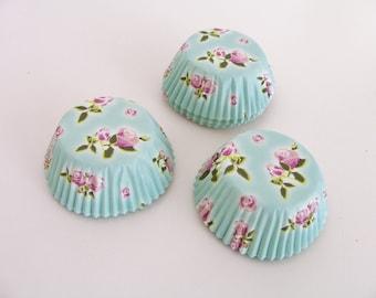 75 Mini pink rose and seafoam cupcake baking cups - pink rose cupcake liners - rose flower cupcake liners - baking supplies - baking cups