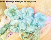 Sea Green Smokey Blue Ribbon Ties, Silk Flower Petals, Shabby Chic Home Decor, Wreath Supplies, Cottage Chic Accessories, Enchanted Garden