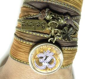 Bohemian Silk Wrap Bracelet Om Zen Yoga Jewelry Earthy Brown Spiritual Believe Namaste Wrist Ribbon Bracelet Christmas Stocking Stuffer