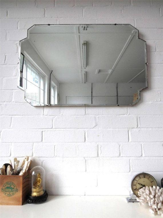 Vintage extra grande bordo bisellato parete specchio art deco - Specchio ovale vintage ...