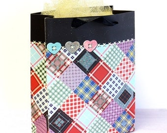 12x Paper Gift Bags w/ Handles, Checkers, Birthday Wedding Shower Party Supplies