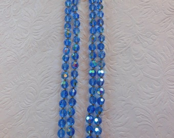 Vintage Double Stranded Blue Aurora Borealis Necklace