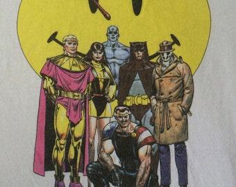 WATCHMEN Shirt 1988 Vintage/ Original RARE DC Comics Mini-Series Graphic Novel Book Tshirt/ Superhero Dave Gibbons Art Graphitti