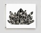 Geometric Diamond Prnt Modern Crystal Art MInimalist Print Black and White Artwork Monochrome Home Decor Quartz Crystal Print Abstract Art