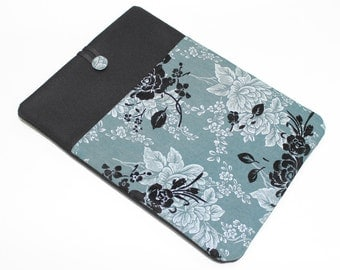 Macbook Pro 13 in Case, Macbook Retina 15in Sleeve, Laptop Case, Chromebook Sleeve, Teal Floral, Laptop Cover, Macbook Air 13 Case