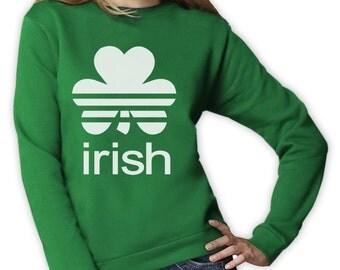IRISH CLOVER Women's Crewneck Sweatshirt For St. Patrick's Day