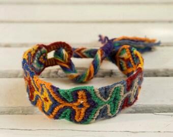 Aztec bracelet ,Dark Rainbow Friendship Bracelet