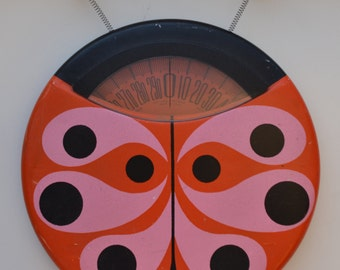 Mid Century Modern Ladybug Bathroom Scale by Brearly, Vintage Retro MCM