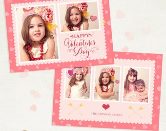 Valentines Day Card Template 005 -  5x7 inch photo card template - for photographers and personal use - ID220, Instant Download
