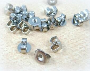 Stainless Steel Ear Nut, 4x5x2.5mm Ear Nut for Post/Stud Earrings, Earrings Backs (E019-2) - Qty. 40