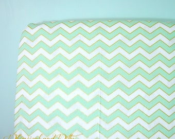 Crib Sheet or Changing Pad Cover - Mint, White, and Metallic Gold Chevron Baby Bedding