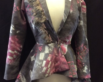 Steampunk Victorian Peplum riding jacket with feather and Long Bustle Back Pink and Grey