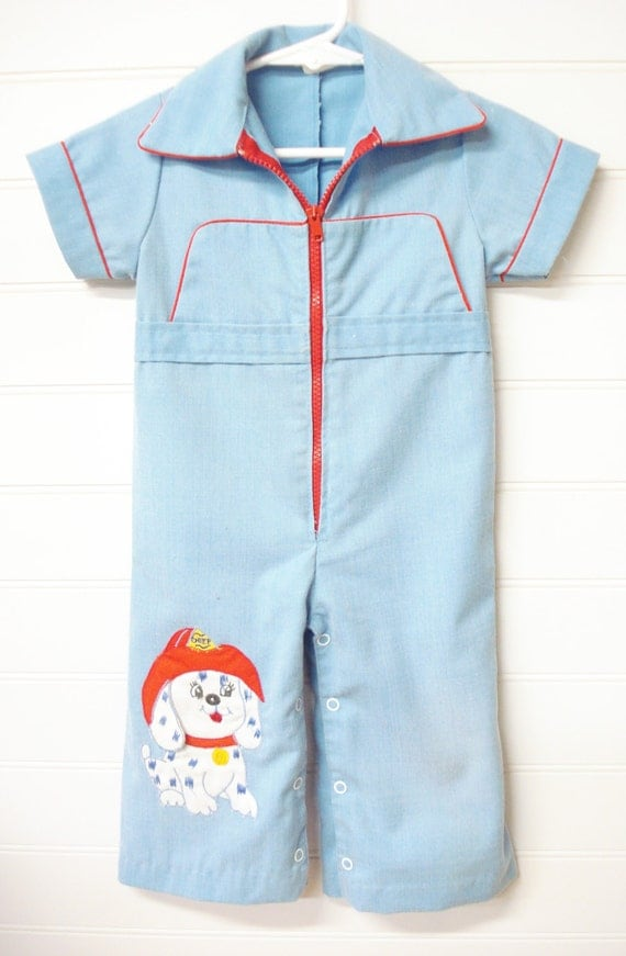 Vintage Baby Clothes Baby Boy Coveralls Fireman by