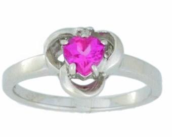 0.50 Ct Pink Saphire & Diamond Oval Ring .925 Sterling Silver Rhodium Finish