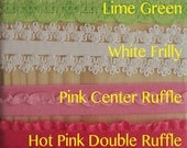 Fancy, Frilly and Lace ELASTIC From 1 - 5 yards - Choose colors and length - elastic for headbands and hair ties