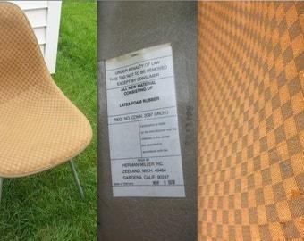 EAMES ALEXANDER GIRARD Herman Miller Brown Orange Checkerboard fabric  H-base upholstered Vintage Original Side Shell Rare Collectible