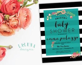 Baby Shower Invitation, Black & White Stripe Baby Shower Invitation, Floral Striped Baby Shower Invite, DIY Printable