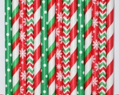 25 Christmas #2  Mix  PAPER STRAWS birthday party bridal shower event cake pop sticks