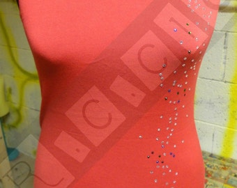 Red modal top with strass multicolor