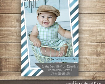1st Birthday Photo Invitation / 1st, 2nd, 3rd Birthday Invitation / Boys Birthday Invitation / Blue & Gray Stripes - Printable or Printed
