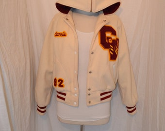 White, Maroon and Gold Lettermen Jacket - Women's S