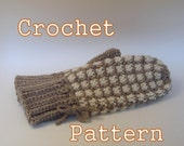 PDF Crochet Pattern - Women's Checked Mittens - Instant Download