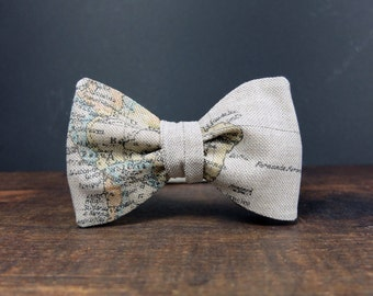 Map Bow Tie For Men Self Tie Bow Tie Traveler Gift Womens Bow Tie Linen Bow Tie Mens Bow Tie Freestyle Bow Tie Globetrotter Gift for Men